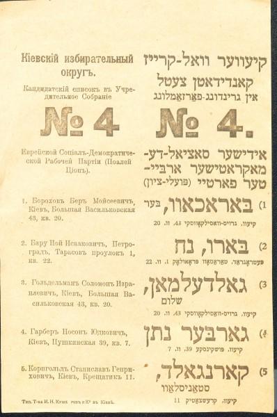 Список кандидатів до Установчих зборів від Єврейської соціал-демократичної партії (Поалей-Ціон), яка за ініціативою Соломона Ґольдельмана першою з неукраїнських партій визнала Українську Центральну Раду