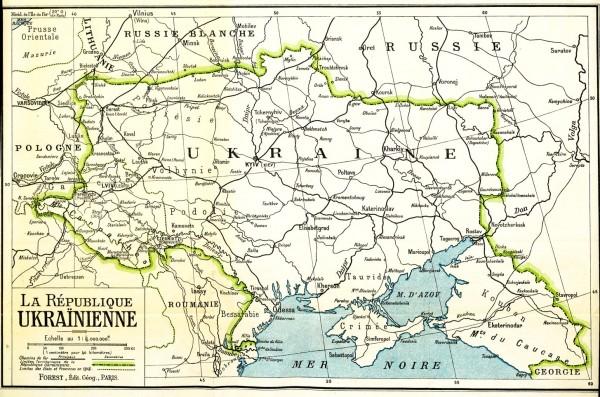 Карта УНР, що була представлена на Паризькій мирній конференції. 1919 р.